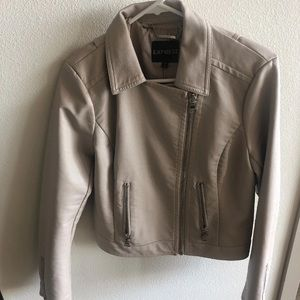 Express faux leather cream jacket